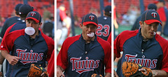why you should not blow bubbles and run at the same time (Boston Wolverine) Tags: boston gum three twins mess triptych baseball run pop maybe bubble chew bubblegum fenway awkward bp mlb 70300mmf456 drewbutera isthisabadtime