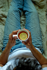 Morning (Shakir's Photography) Tags: morning man guy cup relax lemon tea good jeans slice sit bit