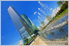 Madrid City - CTBA Glass & Water (david gutierrez [ www.davidgutierrez.co.uk ]) Tags: madrid city urban building water glass architecture buildings spectacular geotagged photography photo spain arquitectura cityscape image sony centre towers cities cityscapes center structure architectural 350 architektu