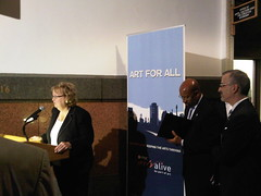 Jean Canfield at the opening reception for The Art Gallery At City Hall
