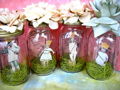 Wedding Jar Fairies! (Lisa Kettell) Tags: flowers wedding flower art collage vintage garden bridalshower assemblage ooak magic pixie fairy faery favor jars alteredart partyfavors showergifts lisakettell capturedjarfairies glassvignette weddingjars gardenjars