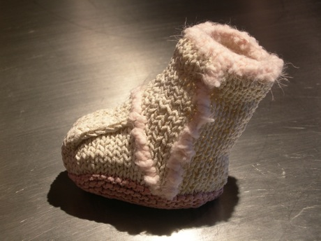 White suede baby bootie
