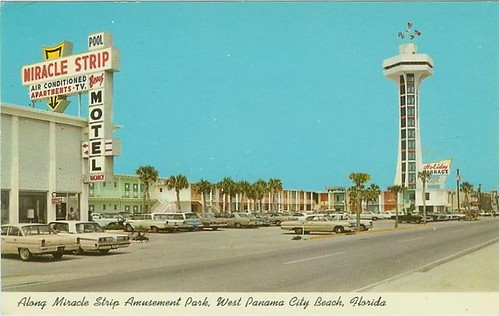 Miracle Strip Motel, Top O the Strip tower, Holiday Terrace motel on Front Beach Rd, Panama City Beach, Florida, late 1960's
