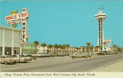 Miracle Strip Motel, Top O the Strip tower, Holiday Terrace motel on Front Beach Rd, Panama City Beach, Florida, late 1960's (stevesobczuk) Tags: florida motel americana panamacitybeach miraclestrip redneckriviera vintagepostcards us98 frontbeachrd topofthestrip