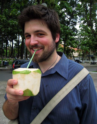 Husbear drinking coconut juice