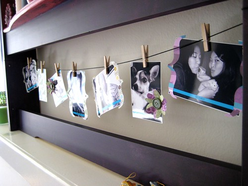 decorating a mantle with photos