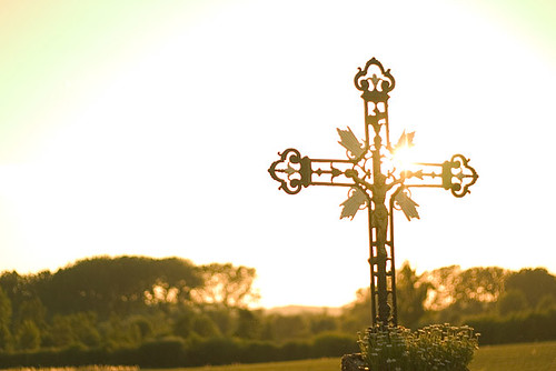 Crucifix at sunset