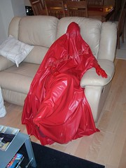 Me in red burqa relaxing (latexladyll) Tags: ds rubber nun bdsm latex hood gag submission burqa enclosure veils