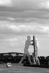 meeting (mivella) Tags: bridge sky bw man berlin river germany deutschland meeting spree treptow molecule