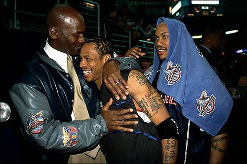 michael jordan tattoos. Michael Jordan embraces Allen