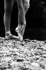 It's All Coming Back to Me (amandanpowell) Tags: trees blackandwhite ballet texture girl leaves outside dance ballerina rocks dancer leotard