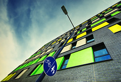 tetris (wecand) Tags: lamp colors sign architecture hotel frankfurt fair exhibition schild marker architektur laterne messe tetris fahrrad farben verkehrsschild meininger europaviertel flickrduel fusgnger wecand stadtgetty2010 gettyimagesgermanyq1