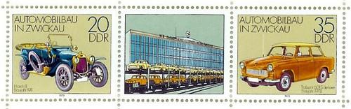 Sellos de la Deutsche Post de la RDA con el motivo de la fabricación de automóviles en Zwickau