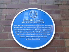Photo of Isaac Dewhirst, Michael Marks, and Tom Spencer blue plaque