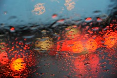 Tail lights, lights, rain on my windshield, co...