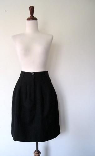 High Waist Black WOOL Skirt, Vintage 80's