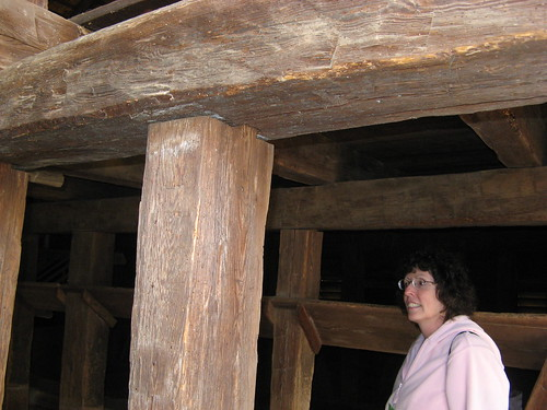 Melissa admires barn pilings