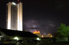 """Chasing Lightning"" (tinfish425) Tags: sky storm rain weather night clouds buildings downtown lightning thunder sante tinfish"
