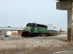 A BNSF Railway one car transfer train on a hold order. Corwith Yard. Chicago Illinois. January 2007.
