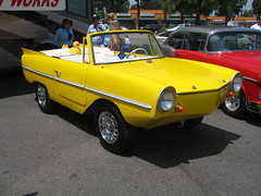 Yellow Amphicar (front) (scottryder) Tags: show california ca classic water car yellow boat automobile aqua unique 50thanniversary amphicar amphibious recreationcenter fountainvalley milesquarepark scottryder