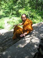 Cambodia Again 1 (Chris Weigold) Tags: orange smile bug temple asia cambodia southeastasia buddhist steps monk offer
