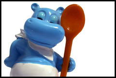 Blue Hippos Love Their Spoons (Jouni Koo) Tags: blue cute giant baker spoon hippo