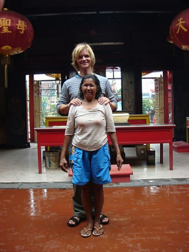 At the Chinese Temple with some funny lady...Bintan Island, Indonesia.