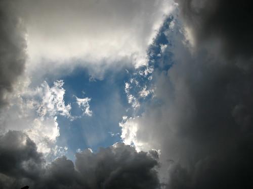 nuvole, luce, raggi, cielo