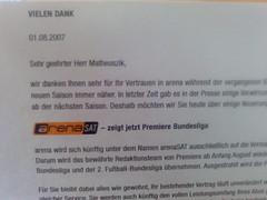 Brief von arena bzw. arenaSAT wegen der Fußball-Bundesliga-Übertragungen