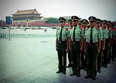 final march. (theshanghaieye) Tags: china city travel vacation square soldier march uniform asia tour capital guard chinese beijing tourist formation communist communism mao soldiers  lonelyplanet  guards tiananmensquare backpacker shanghaiist tiananmen nationalgeographic   middlekingdom