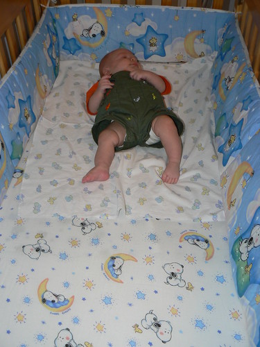 Look how tiny JSL is in his crib