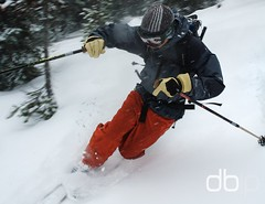 Thanksgiving in Bend, Part 2 (Daniel Bachhuber) Tags: trees winter mountain snow hat oregon day skiing bend action overcast jacket gloves skis telemarking diffusedlight benhayes tumalomountain