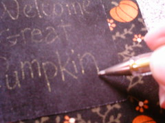 embroidery on dark fabric (shebrews) Tags: halloween pumpkin embroidery peanuts