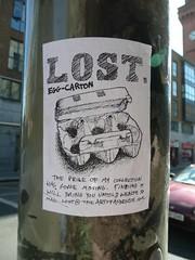 Lost Egg-Carton (HeideKlein_OrangenKopf) Tags: street ireland dublin art lost sticker funny joke humour eggcarton roi republicofireland ire bailethacliath dubhlinn