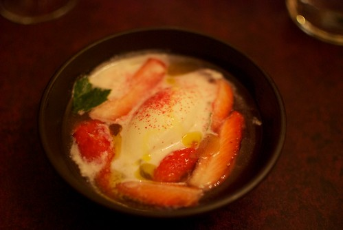 Chevre ice cream with strawberries and rhubarb