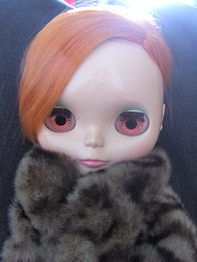 Charlie in her (fake!) furcoat.