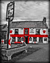 The Grey Horse Inn Penshaw near Sunderland (CWhatPhotos) Tags: world pictures camera city red england horse white house colour cup public beer sign st shop digital canon that grey photo george football inn paint with cross image photos pics flag picture 9 pic images powershot have alcohol come pro pup pint compact redandwhite 2010 sunderland selective s90 penshaw adobelightroom comeonengland