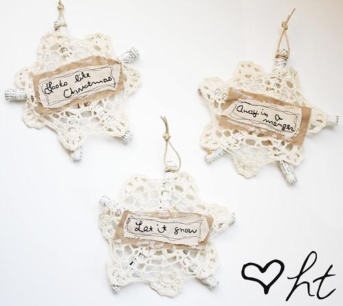 Doily Snowflake Ornaments