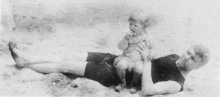 Image of Our grandfather with his young son on the beach in Atlantic City