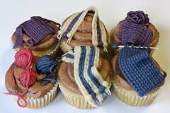 Knit Night Cupcakes (teenytinyturkey) Tags: cupcakes vegan knitting knit marzipan