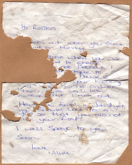 Letter Found by the River Trent, Trentside North, Lady Bay, Nottingham, England, 24 June 2007 (Dr John2005) Tags: nottingham family england writing paper found mother damage letter torn ladybay johnperivolaris