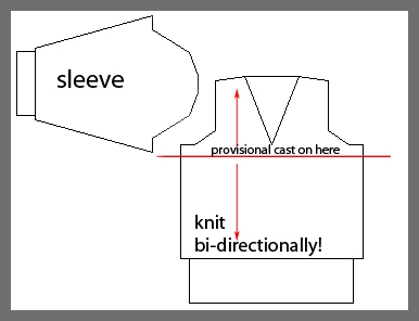 V-neck knit bi-directionally!