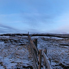 Alston Moor fence (Mel Huitson) Tags: uk sunset england snow weather fence north cumbria moor alstonmoor