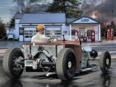On The Proud Highway .... (Rat Rod Studios) Tags: auto car route66 gasstation hotrod texaco roadster