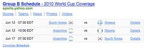World Cup Group B schedule Yahoo! Shortcut