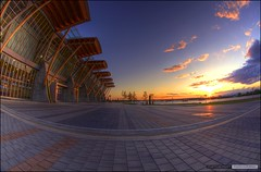 Sun Sets Over The Olympic Oval (Clayton Perry Photoworks) Tags: sunset water vancouver canon reflections river richmond fisheye fraser hdr global globaltv van2010 waynecox waynesweatherwindow richmondolympicoval hdrspotting