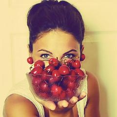 [explored] cherry girl :) (sma_kee) Tags: summer portrait selfportrait me face vintage eyes cherries retro sp memyselfandi selfie happygirl bowlofcherries cherryearrings cherrygirl 15challengeswinner ilcantodellesirene smakee