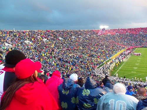 Notre Dame Stadium. We were surrounded by too many Notre Dame fans.