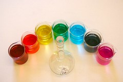 Mystery Rainbow Solutions. (ericwyllie) Tags: school colour 350d rainbow eric flask colours science teacher chemistry pyrex 2007 meniscus ericwyllie