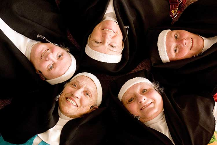 The stars of Nunsense at the Grand Cove Estates Caddyshack are, clockwise from top left: Christine Osmond as Sister Mary Leo, Dorothy Campbell as Sister Mary Amnesia, Mary Poirier as Sister Mary Hubert, Claire Castle as Sister Mary Regina, and Laura Cavalier as Sister Mary Robert Anne.